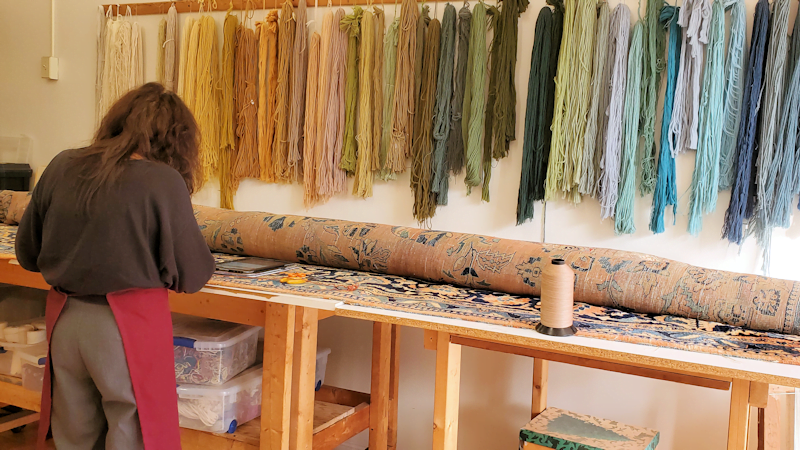 Your rug will be repaired on our premises by Khouri's repair experts